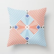 Throw Pillow featuring Blue Red Stripes by FLATOWL