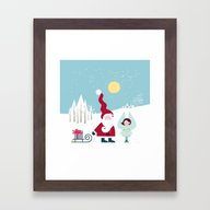Santa And The Little Ang… Framed Art Print