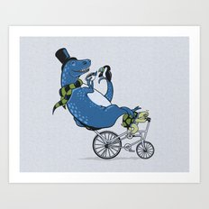 Tandem T-Rex Tastes Tea with Tucan, as Turtle Toils Art Print