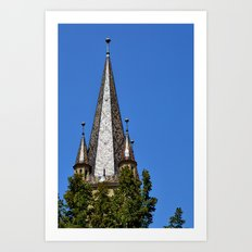 Evangelical Cathedral Bell Tower from Sibiu, Transylvania Art Print