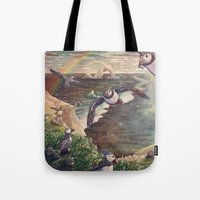 Cliffside Puffins Tote Bag