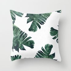 Banana Leaf Watercolor Pattern #society6 Throw Pillow