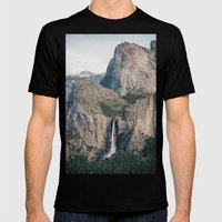 Yosemite Waterfall Mens Fitted Tee Black SMALL