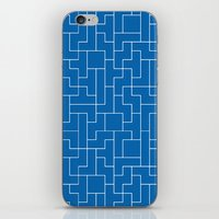 White Tetris Pattern on Blue iPhone & iPod Skin