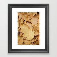 Brown Fallen Leaves Framed Art Print