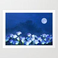 Cornflowers In The Moonl… Art Print