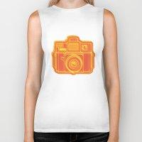 I Still Shoot Film Holga Logo - Yellow & Red Biker Tank