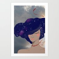 Sky hair goddess Art Print