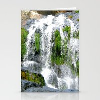 Waterfall Over Green Roc… Stationery Cards
