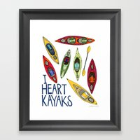 I Heart Kayaks  Framed Art Print