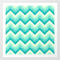 Chevron - Mint Art Print