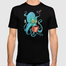 Michelle's Coffee Drinking Octopus Black SMALL Mens Fitted Tee
