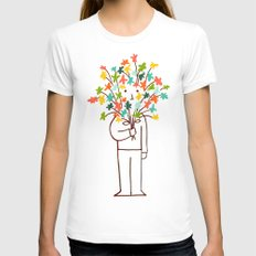 I bring flowers Womens Fitted Tee White SMALL