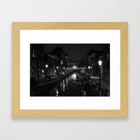 Amsterdam by Night - Canal Framed Art Print