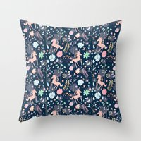 Unicorns In Hesperides Throw Pillow