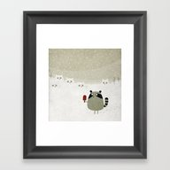 Raccoon And Cats Framed Art Print