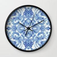 Pattern in Denim Blues on White Wall Clock