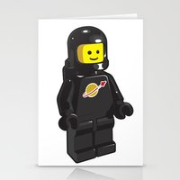 Vintage Lego Black Spaceman Minifig Stationery Cards