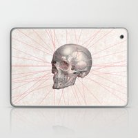 Abstract Gray Vintage Skull Modern Pink Stripes Laptop & iPad Skin