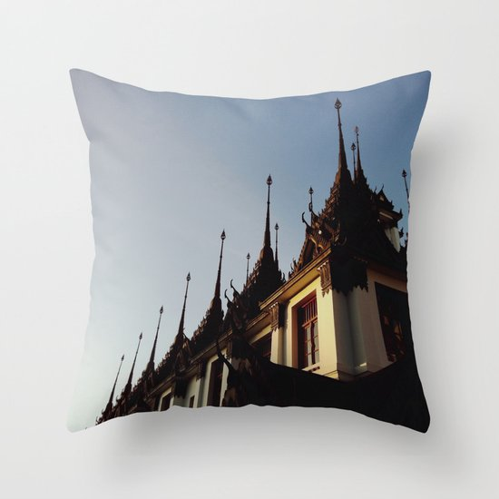 Slate Temple Throw Pillow
