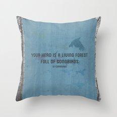 ee cummings - songbirds. Throw Pillow