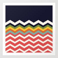 Retro Chevrons (salmon and navy) Art Print