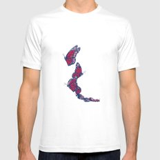 Red & Blue Monarch Mens Fitted Tee White SMALL