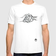 Handholding Mens Fitted Tee White SMALL