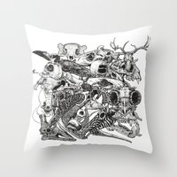 Animal Skulls Throw Pillow