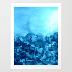 INTO ETERNITY, TURQUOISE Colorful Aqua Blue Watercolor Painting Abstract Art Floral Landscape Nature Art Print