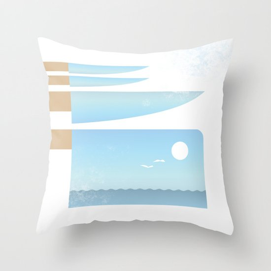 Choppy Waves Throw Pillow