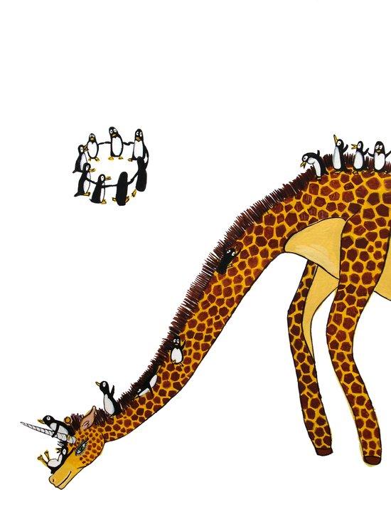 Penguins on a Giraffe Slide Art Print