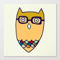 Owl hipster Canvas Print