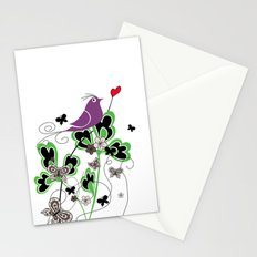 Vintage Retro Text Bird and Butterfly with Heart: Flutter By Stationery Cards