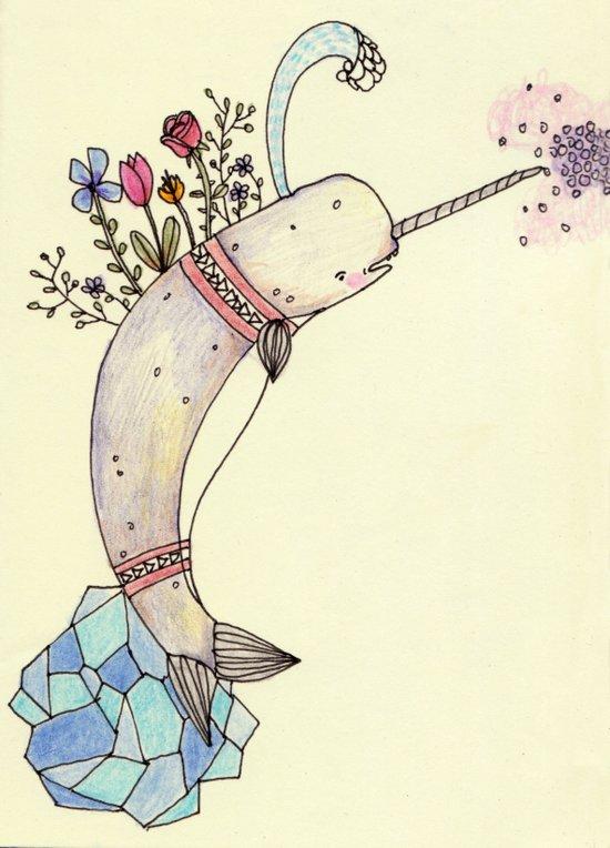 Narwhale Garden Art Print