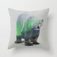 Polar Bear In The Aurora Borealis Throw Pillow