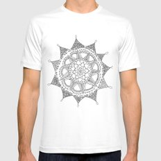 Black and White Circle Doodle SMALL White Mens Fitted Tee