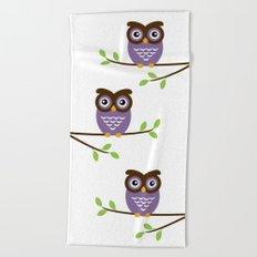 Purple Owl Beach Towel