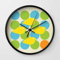 MidCentury Bird Pattern Wall Clock