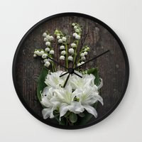 White Flowers on Rustic Table Wall Clock