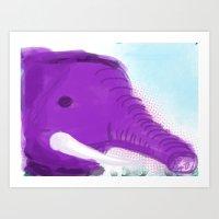 Purple Elephant Art Print