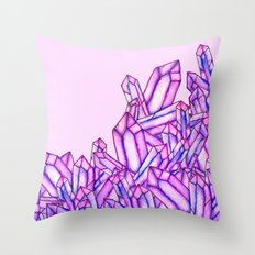 Pink purple watercolor paint crystals gem pattern Throw Pillow