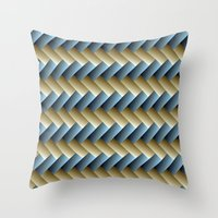 3D Weave, Blue And Yello… Throw Pillow
