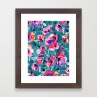 Flourish - a watercolor floral in pink and teal Framed Art Print