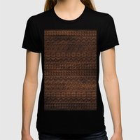 Aztec Tribal Andes Carved brown wood grain pattern Womens Fitted Tee Black SMALL