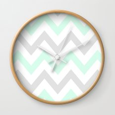 WASHED OUT CHEVRON (MINT & GRAY) Wall Clock