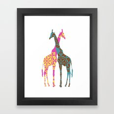 Two Giraffes together Framed Art Print