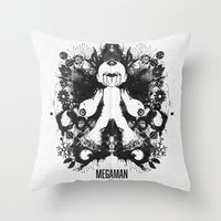 Megaman Geek Ink Blot Test Throw Pillow