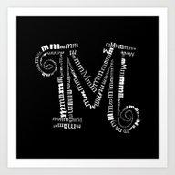 Invert M Letter Art Print