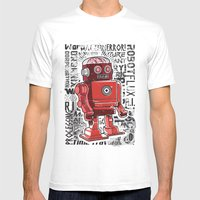 Robot Flux Mens Fitted Tee White SMALL